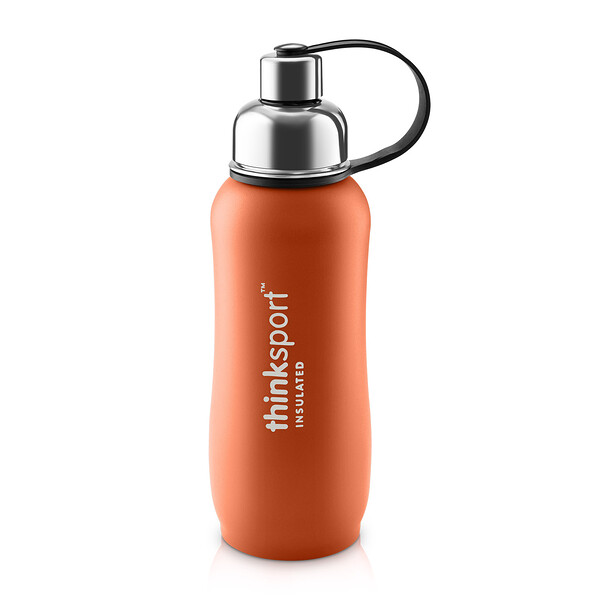 Think, Pensamiento Deportivo, botella de deporte isotérmica, naranja, 25 oz (750ml) (Discontinued Item)