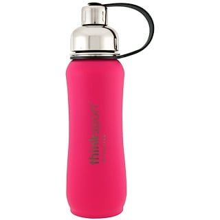 Think, Thinksport, Insulated Sports Bottle, Dark Pink, 17 oz (500 ml)