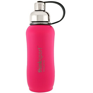 Think, Thinksport, Insulated Sports Bottle, Dark Pink, 25 oz (750 ml)