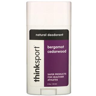 Think, Thinksport, Natural Deodorant, Bergamot Cedarwood, 2.9 oz (85.8 ml)