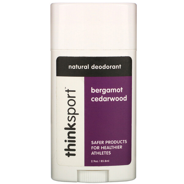 Thinksport, натуральный дезодорант, бергамот и кедр, 2,9 унции (85,8 мл)