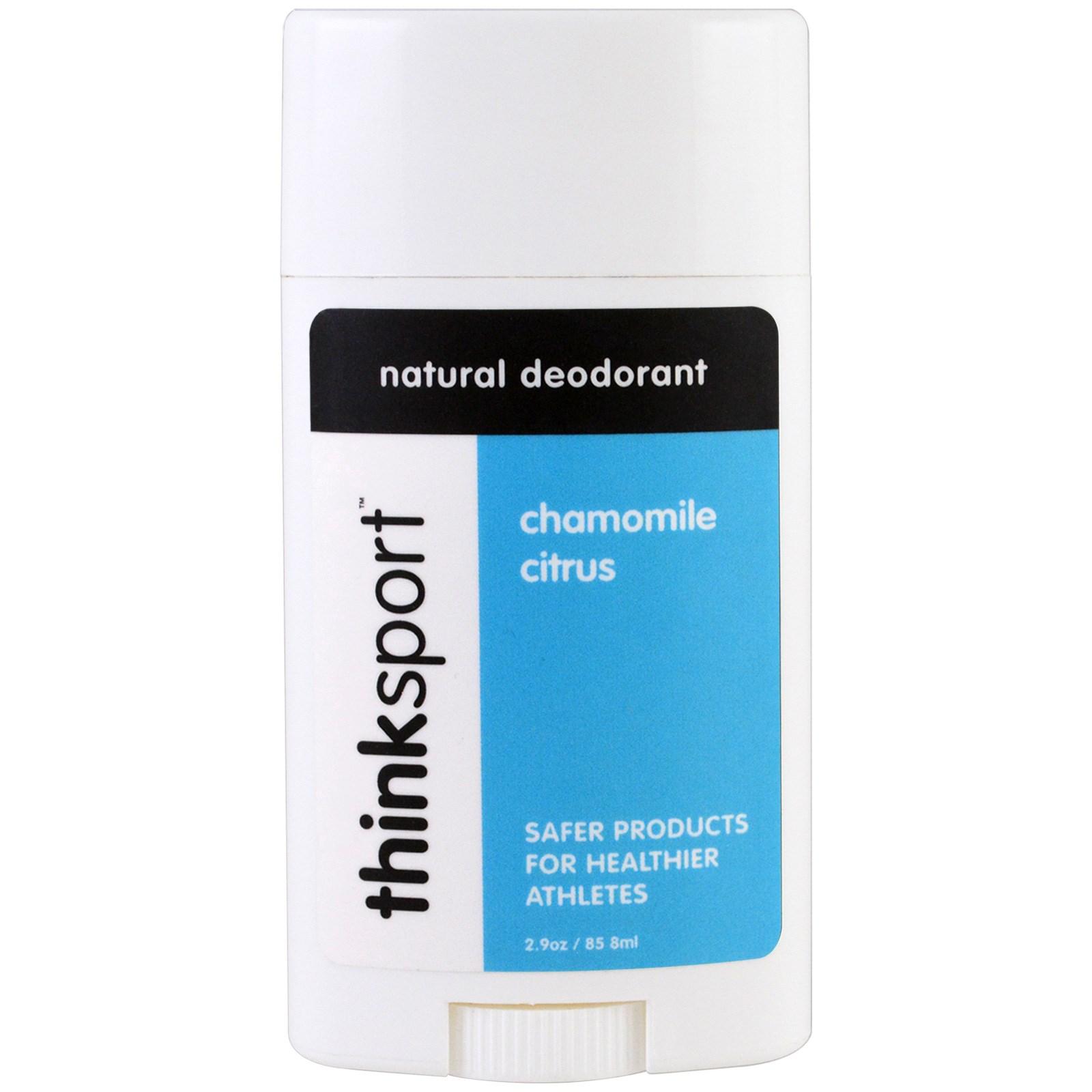 Think, Thinksport, натуральный дезодорант, ромашка и цитрус, 2,9 унц. (85,8 мл)