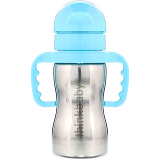 Think, Thinkbaby, botella de acero Thinkster, azul, 1 botella con sorbete, 9 oz (260 ml)