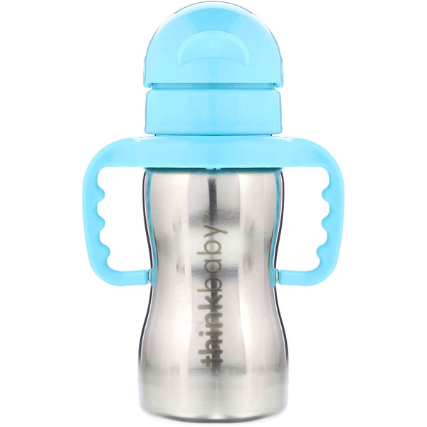 Thinkbaby, botella de acero Thinkster, azul, 1 botella con sorbete, 9 oz (260 ml)