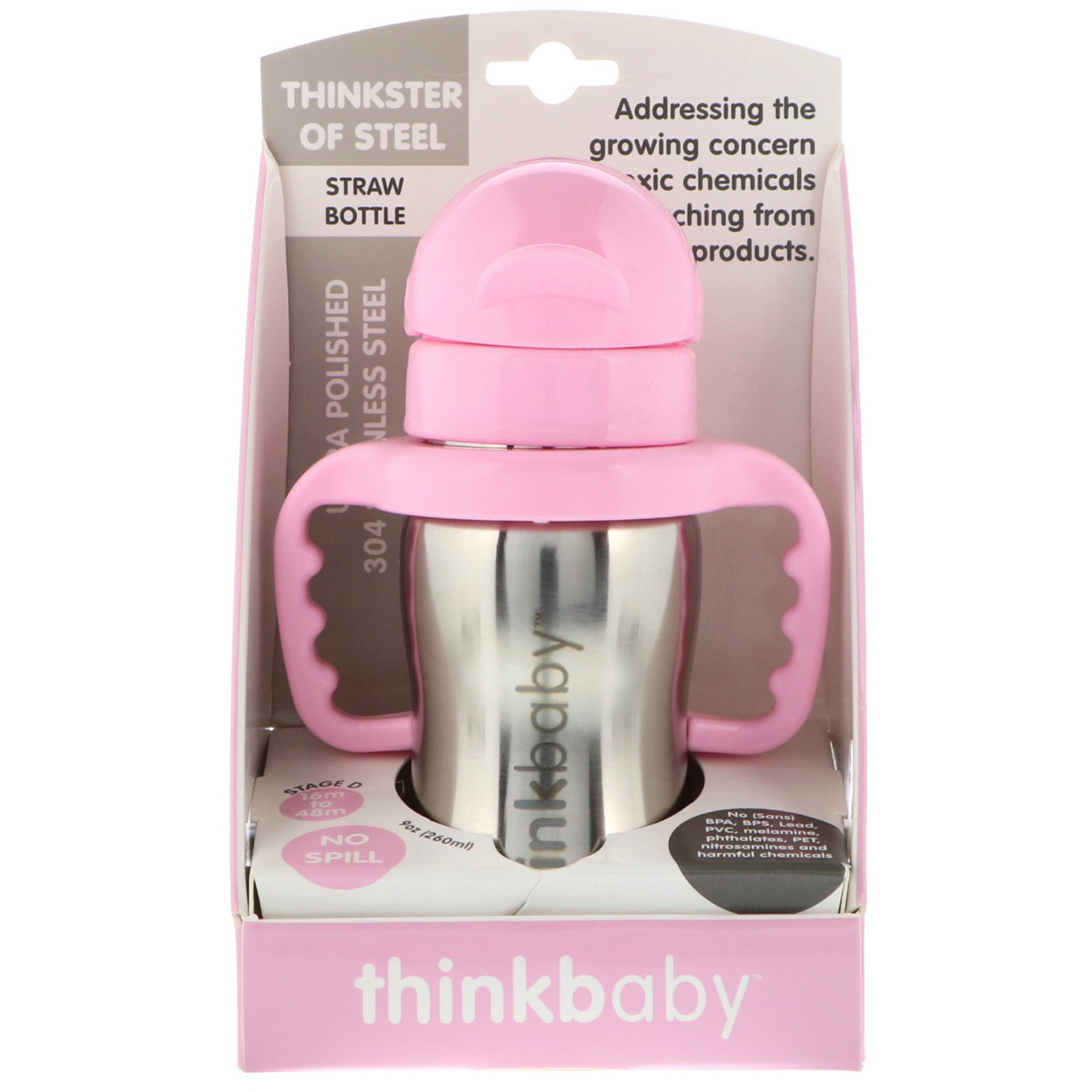 thinkbaby Thinkster Straw Bottle Pink