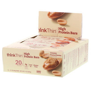 ThinkThin, High Protein Bars, Creamy Peanut Butter, 10 Bars, 21 oz (60 g) Each