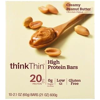 ThinkThin, Батончики с высоким содержанием протеина, Кремовое арахисовое масло, 10 батончиков, 21 унция (60 г) в каждом