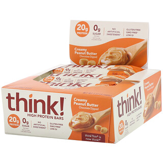 Think !, High Protein Bars, Creamy Peanut Butter, 10 Bars, 2.1 oz (60 g) Each
