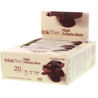 ThinkThin, High Protein Bar, Chocolate Fudge, 10 Bars, 2.1 oz (60 g) Each