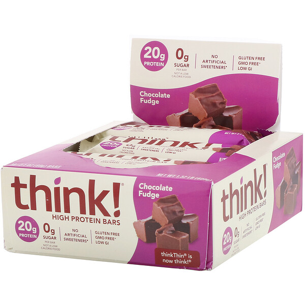 ThinkThin, High Protein Bars, Chocolate Fudge, 10 Bars, 2.1 oz (60 g) Each
