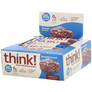 ThinkThin, High Protein Bars, Brownie Crunch, 10 Bars, 2.1 oz (60 g) Each
