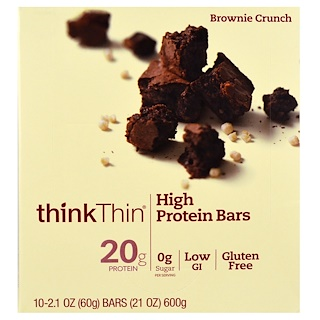 ThinkThin, Батончики с высоким содержанием протеина, Brownie Crunch, 10 батончиков по 60 г