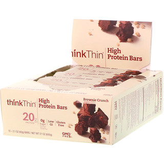 ThinkThin, Barras altas en proteína, brownie crocante, 10 barras, 21 oz (60 g) cada una