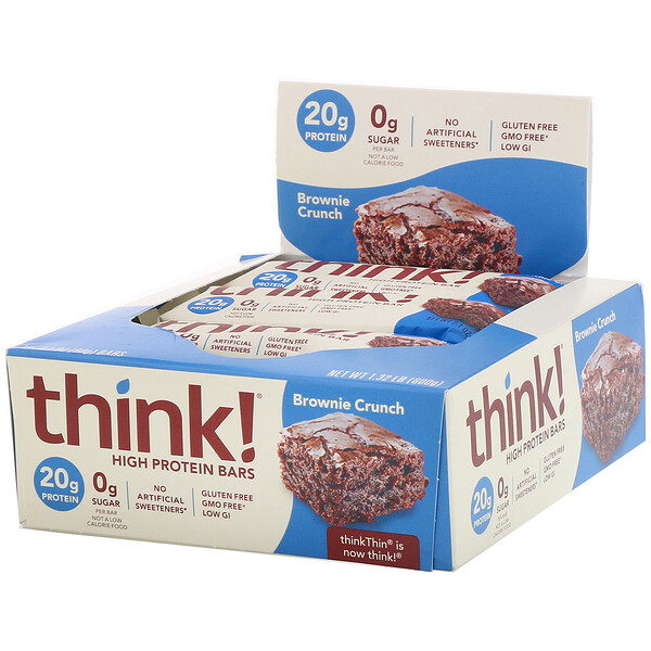 ThinkThin, Barritas altas en proteína, Brownie crocante, 10 barritas, 60 g (2,1 oz) cada una