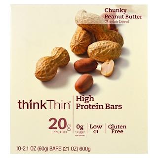 ThinkThin, ハイプロテインバー、チャンキーピーナッツバター、10本、各 21 oz (60 g)