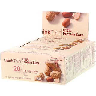 ThinkThin, High Protein Bars, Chunky Peanut Butter, 10 Bars, 21 oz (60 g) Each