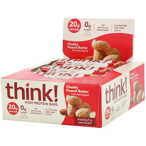 ThinkThin, High Protein Bars, Chunky Peanut Butter, 10 Bars, 2.1 oz (60 g) Each