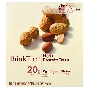 ThinkThin, Батончики с высоким содержанием белка, комковатое арахисовое масло, 10 батончиков, по 21 унции (60 г) каждый