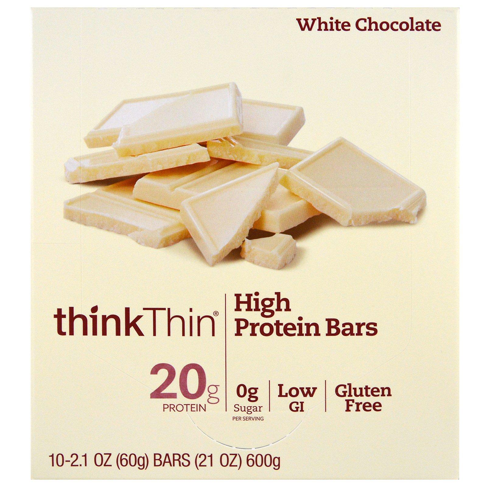 ThinkThin, Высокопротеиновый батончик, белый шоколад, 10 батончиков, 2,1 унции (60 г) каждый