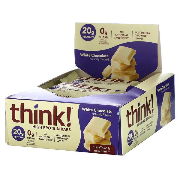 High Protein Bars, White Chocolate, 10 Bars, 2.1 oz (60 g) Each