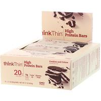 Насыщенный протеином батончик, печенье и сливки, 10 батончиков, 2,1 унц. (60 г) каждый - фото