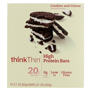 ThinkThin, High Protein Bars, Cookies and Cream, 10 Bars, 2.1 oz (60 g) Each