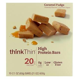 ThinkThin, High Protein Bars, Caramel Fudge, 10 Bars, 2.1 oz (60 g) Each