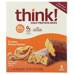 Think !, Creamy Peanut Butter 高蛋白棒,5 棒,每棒 2.1 盎司(60 克)