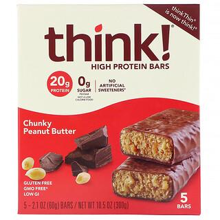 Think !, High Protein Bars, Chunky Peanut Butter, 5 Bars, 2.1 oz (60 g) Each