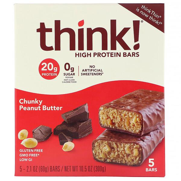 ThinkThin, High Protein Bars, Chunky Peanut Butter, 5 Bars, 2.1 oz (60 g) Each