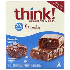 Think !, 高蛋白棒,Brownie Crunch,5 棒,每棒 2.1 盎司(60 克)