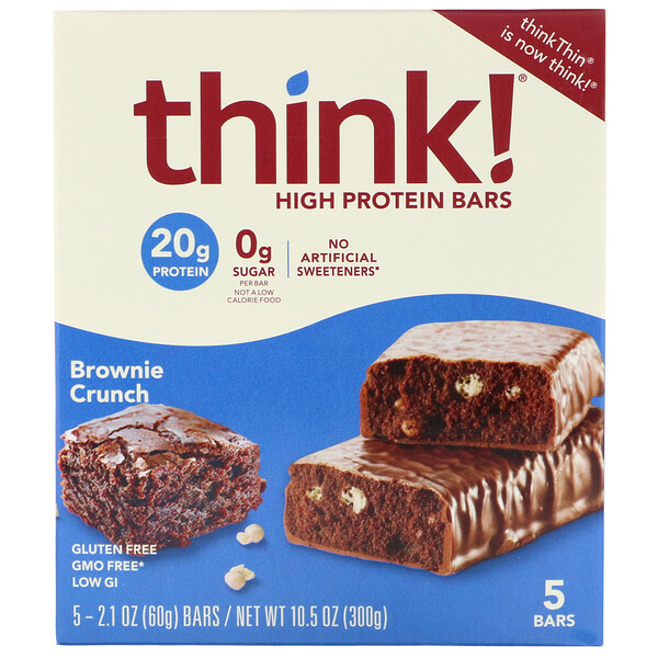ThinkThin, Barres riches en protéines, Brownie croustillant, 5 barres, 60 g par unité