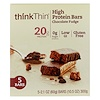 ThinkThin, High Protein Bars, Chocolate Fudge, 5 Pack, 2.1 oz (60 g) Each