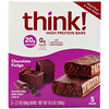 Think !, High Protein Bars, Chocolate Fudge, 5 Bars, 2.1 oz (60 g) Each