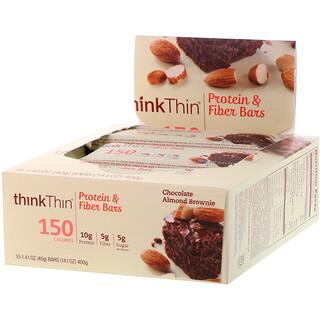ThinkThin, Protein & Fiber Bars, Chocolate Almond Brownie, 10 Bars, 1.41 oz (40 g) Each