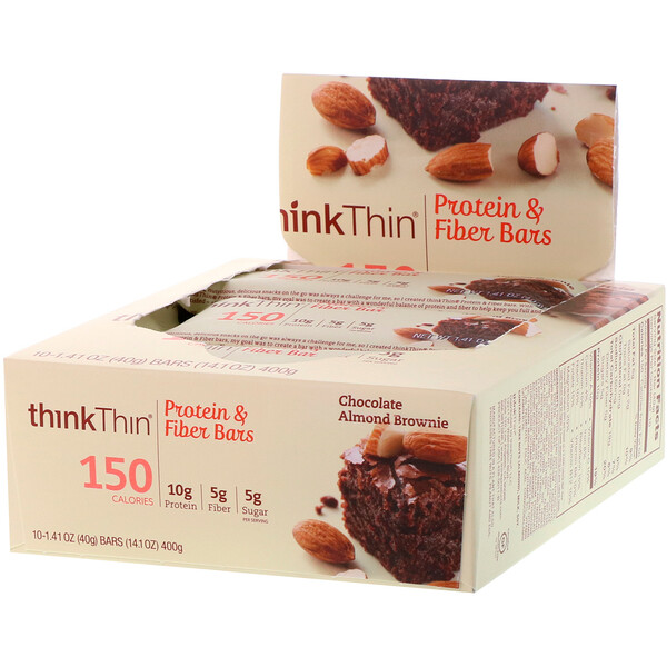 ThinkThin, High Protein Bars, Chocolate Almond Brownie, 10 Bars, 1.41 oz (40g) Each