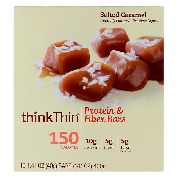 ThinkThin, Protein & Fiber Bars、 Salted Caramel, 10 Bars, 1、41 oz (40 g) Each