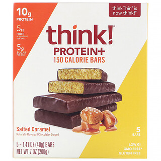 Think !, بروتين + قوالب تحتوي على 150 سعرة حرارية، كراميل مملح، 5 قوالب، 1.41 أونصة (40 جم) لكل منها
