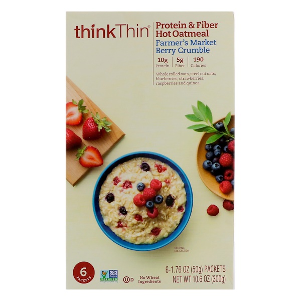 ThinkThin, Protein & Fiber Hot Oatmeal, Farmer's Market Berry Crumble, 6 Packets, 1.76 oz (50g ) Each (Discontinued Item)
