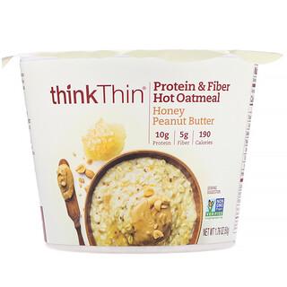 Think !, الشوفان الساخن بالبروتين والألياف، عسل وزبد الفول السوداني، 1.76 أونصة (50 جم)