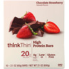 ThinkThin, High Protein Bars, Chocolate Strawberry, 10 Bars, 2.1 oz (60 g) Each