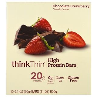 ThinkThin, 高タンパク質バー、チョコレートストロベリー(60 g✕10本)