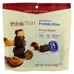 ThinkThin, Unwrapped Protein Bites, Peanut Butter, 4.5 oz (128 g)
