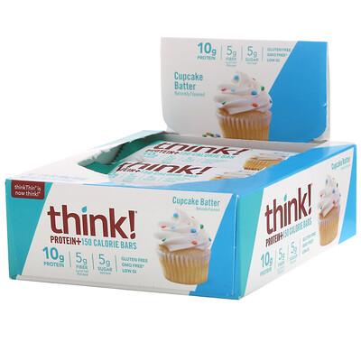 Купить Think ! Protein+, 10батончиков Cupcake Batter по 40г (1, 41 унции) и 150калорий каждый