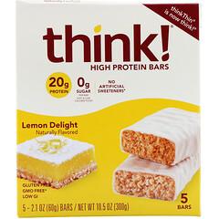 Think !, Lemon Delight 高蛋白棒,5 棒,每棒 2.1 盎司(60 克)
