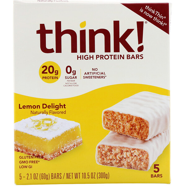 ThinkThin, High Protein Bars, Lemon Delight, 5 Bars, 2.1 oz (60 g) Each