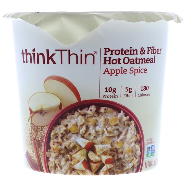ThinkThin, Protein & Fiber Hot Oatmeal, Apple Spice, 1.76 oz  (50 g) (Discontinued Item)