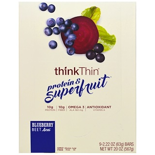 ThinkThin, Protein & Superfruit, Blueberry Beet Acai, 9 Bars, 2.22 oz (63 g) Each