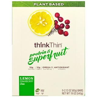 ThinkThin, Protein & Superfruit, Lemon Cranberry Chia, 9 Bars, 2.12 oz (60 g) Each