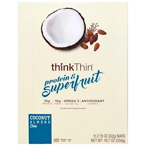ThinkThin, Протеины и суперпродукты, кокос, миндаль, семена чиа, 9 батончиков, 2,19 унций (62 г) каждый